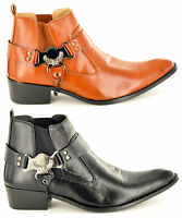 Men's Gents Pointed Toe Slip On Western Cowboy Boots Shoes Sizes 6 7 8 9 10 11