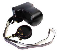 Bottom Opening PU Leather Full Camera Bag Case for Panasonic LUMIX GX85 Black