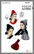 Vintage Vogue Misses' Hat Bag Fabric Material Sewing Pattern  #9837