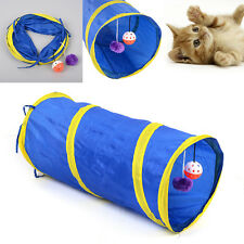 New Foldable Pet Tunnel Cat Kitten Rabbits Crinkle With Ring Bell Toy 55cm