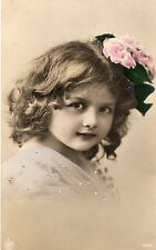 VINTAGE POSTCARD PRETTY LITTLE GIRL CHILD HAND TINTED FLOWERS IN HAIR HEY RP