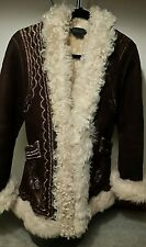 Authentic BCBG Maxazria Genuine SHEARLING LEATHER WOMEN LADIES COAT JACKET FUR M