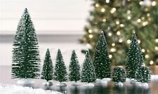 Set of 9 Mini Green Sisal Evergreen CHRISTMAS TREES ~ Snow Frost Village Putz
