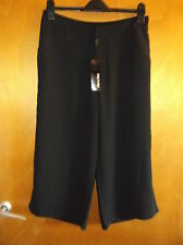 "For Cynthia Cropped Wide Leg Smart Trousers UK 12 W 32"" L 20"" Black BNWT"