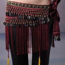 Belly Dance Costume Hip Scarf Tribal Fringe Tassel Belt Copper Coins 3 colours