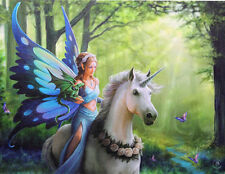 "Realm of Enchantment Fairy and Unicorn Canvas Art Print by Anne Stokes 10"" x 7"""
