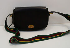 POLO RALPH LAUREN Black Leather Striped Canvas Strap Messanger Shoulder Bag