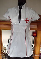 WHITE & RED TIGHT HEAVY PVC NURSE DRESS SIZE LARGE 12