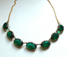 Gorgeous Vintage 1950s Green Statement Paste Stone Necklace