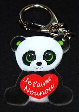"""Porte-clés panda message """"Je t'aime Nounou"""" baptême anniversaire"""