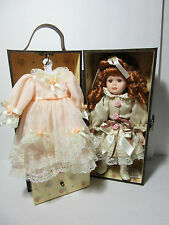 Porcelain Doll in Wood Case and Wardrobe, Vintage Doll from Cracker Barrel