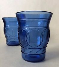 Set of 2 Embossed & Depression Glass Cobalt Blue Shot Glasses 2 oz.