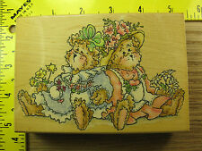 Rubber Stamp Forever Friends Penny Black Girl Bears Flowers Stampinsisters #1636