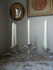 Beautiful French Style Aged Metal Scrolling Leaf Candelabra Table Centre Piece
