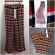 Vintage NOS 1970s Red and Green Plaid Checked Flare High Waist Pants Unworn M