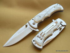 4 INCH CLOSED TAC-FORCE WHITE PEARL SPRING ASSISTED KNIFE WITH POCKET CLIP