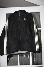 VTG ADIDAS REVERSIBLE BLACK / GRAY NYLON THICK HOODIE TRACK JACKET COAT MENS XL