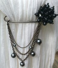 Hanging Black Bead Bauble Chain Pin Brooch
