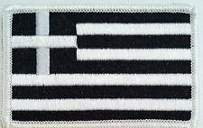 Greece Tactical Flag Iron-On Patch Black & White MC Biker Emblem