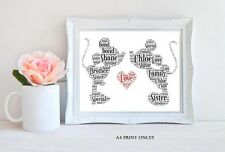 PERSONALISED ENGAGEMENT / WEDDING DAY WORD ART GIFT  KEEPSAKE A4 SIZE