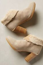 NEW Anthropologie Strena Germacario Fur Trim Booties Size 39 US 8