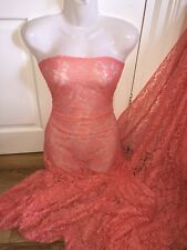 """1 MTR CORAL/PEACH LACE NET LYCRA STRETCH FABRIC...60"""" WIDE £3.49 SPECIAL OFFER"""