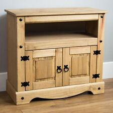 Corona Straight TV Unit Solid Pine Mexican Cabinet Furniture By Home Discount