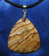 Picture Jasper stone pendant leather necklace healing jewelry scenic earthy big