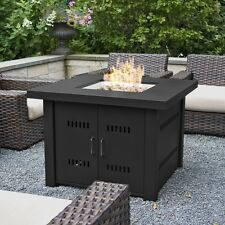 Outdoor Firepit Table Square Propane Gas Fireplace Patio Deck Backyard Cover New