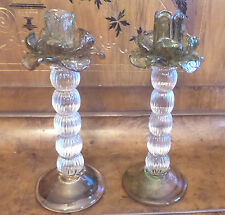 TWO MURANO GLASS CANDLE STICKS FLOWER DESIGN GREENS & BLUES