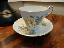 Vintage Regency Yellow Flowers Bone China Tea Cup & Saucer Made in England