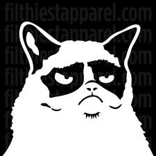 (2) GRUMPY CAT Peeking Out Window Meme Funny Angry Vinyl Decal Stickers **TWO!**