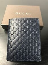 NWT Auth. Gucci Guccissima GG Navy Blue Embossed Leather Men's Bi Folded Wallet