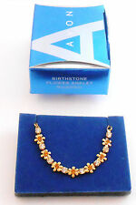 AVON BIRTHSTONE FLOWER ANKLET NOVEMBER CITRINE WITH CLEAR RHINESTONES NOS 2007