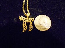 14k gold plated Hebrew/Jewish Life Chai Symbol charm rope chain necklace jewelry
