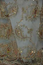Sequins Paisley Coco champagne embroidery  Sheer Polyester dress apparel fabric