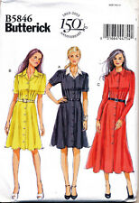 BUTTERICK SEWING PATTERN 5846 MISSES SZ 10-18 RETRO INSPIRED FLARED SHIRT DRESS