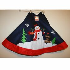 "NWT 48"" Felt Snowman Let it Snow, Christmas Tree Shirt by Holiday Time"