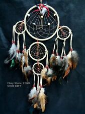 Long/Big Bead Handmade Hanging Feather Dream Catcher Decoration Ornament Stone B