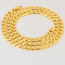 24 Inches 7mm 9k Gold Filled Men's Curb Chain Necklace, 14C0463