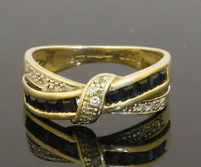 9ct Yellow Gold Princess Sapphire & Diamond Crossover Eternity Ring (Size M 1/2)