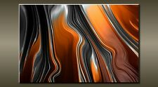 "LARGE ABSTRACT BLACK GREY ORANGE CANVAS WALL PICTURE FLASH ART 30"" 20"" 0313"