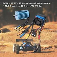 3650 4370KV 4P Sensorless Brushless Motor with 45A ESC for 1/10 RC Off-Road Car