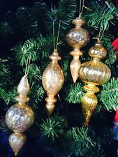 6.5 7.5 9 In Lot 4 Robert Stanley Finial Regency Gold Glass Christmas Ornaments