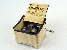 Personalized Hand Crank Wooden Music Box (The Beatles - Yellow Submarine)
