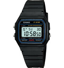 Casio F91W-1, Digital Chronograph Watch, Black Resin Band, Alarm, Date
