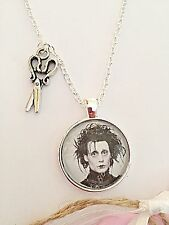 Edward Scissorhands Necklace - Silver Plated - Glass Pendant - Movie Jewelry