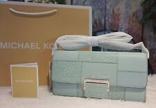 NWT Michael Kors $228 Cynthia Large Clutch Crossbody Embossed Leather CELADON