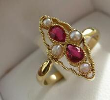 rare bague ancienne or 18 carats perles fines rubis ring gold 18k french ruby