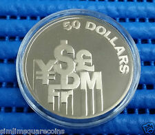 1980 Singapore $50 Fifty Dollars Currency Symbols Silver Proof Coin